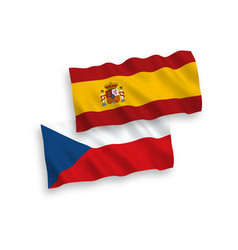 Flags czech republic and spain on a white vector