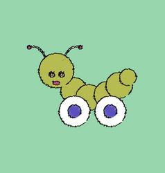 Flat shading style icon children toy caterpillar vector