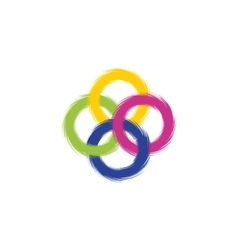 Four intersecting colored rings with ragged edges vector
