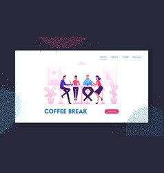 friends meeting in cafe or bar website landing vector image