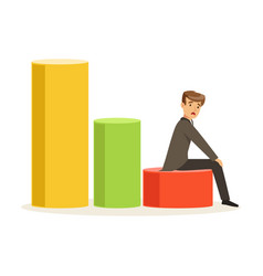 Frustrated businessman sitting on a graph down vector