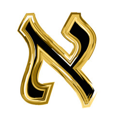 Gold letter aleph of the hebrew alphabet vector