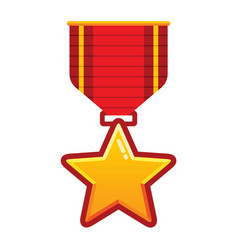 gold star medal with red ribbon for championship vector image