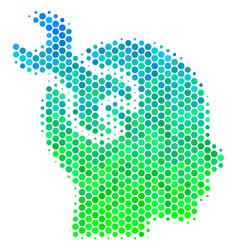 Halftone blue-green brain service wrench icon vector