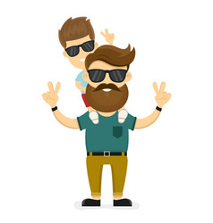 Happy smiling hipster father and son vector
