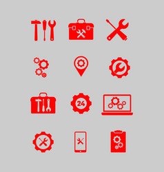 icons conducting service works on the site vector image