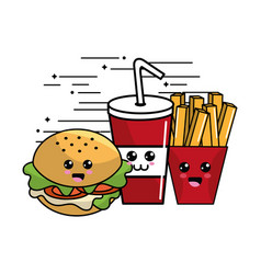 Kawaii fast food icon adorable expression vector
