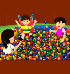 Kids playing in ball pool vector