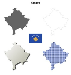 Kosovo outline map set vector