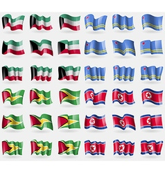 Kuwait Aruba Guyana Korea North Set of 36 flags of vector