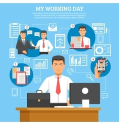 Man daily routine poster vector