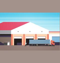 Man help big semi truck drive into warehouse vector