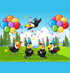many birds in party theme in nature forest vector image