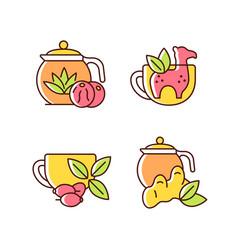 Medicinal tea rgb color icons set vector