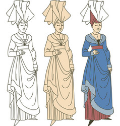 Medieval woman wearing historic costume vector