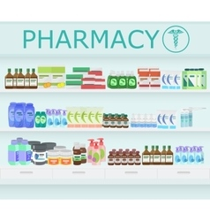 Modern pharmacy drugstore interior Pills and vector image