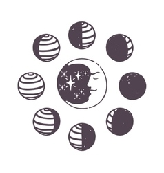 Moon phases set vector