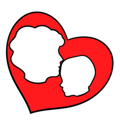 Mother and child inside heart icon icon cartoon vector