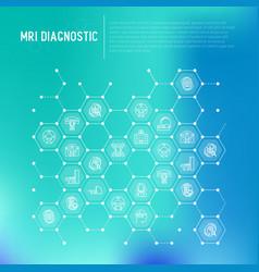 Mri diagnostics concept in honeycombs vector