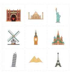 Nine flat landmark icons vector