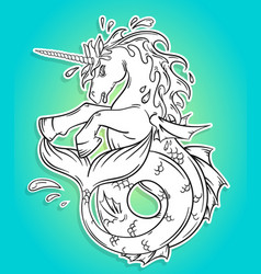 ocean unicorn with a fishtail vector image
