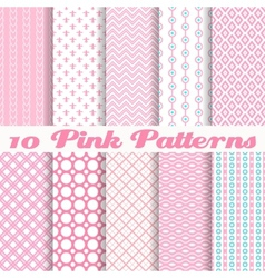 Pink different seamless patterns vector