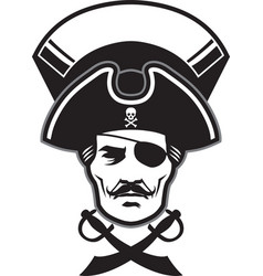 Pirate captain head mascot vector