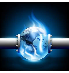 planet earth and pipes for fuel production vector image