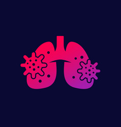 Pneumonia icon with lungs and virus vector