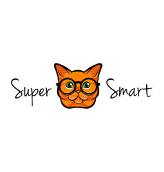 Portrait of smart cat glasses cat geek vector