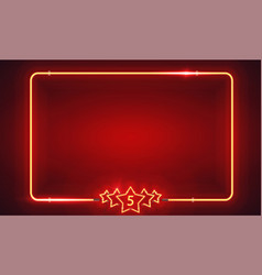 retro neon frame with five stars vector image