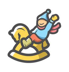 rocking baby horse icon cartoon vector image