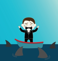 Scared Businessman on boat surrounded by shark vector image