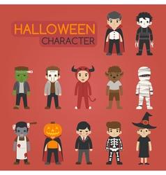 set halloween costume characters vector image