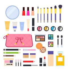 set makeup bag icons flat vector image