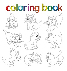 Set of nine playful kittens for coloring book vector