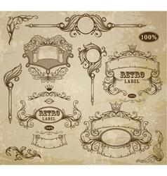 Set vintage elements ribbons and emblem vector