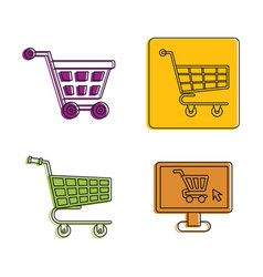 shop cart icon set color outline style vector image