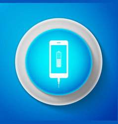 smartphone battery charge icon on blue background vector image