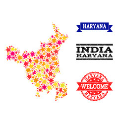 Star mosaic map of haryana state and grunge stamps vector