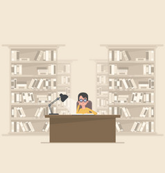 Student reading a book in the library vector