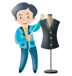 Tailor cutting and sewing clothes vector