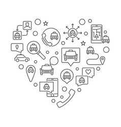 taxi icons in heart shape - taxi service vector image