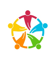 Teamwork holding their hands group 5 people vector