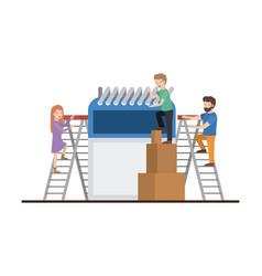 Teamwork mini people doing calendar vector