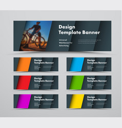template horizontal web banners with diagonal vector image
