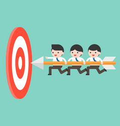 Tiny businessmen carrying arrow to reach goal vector