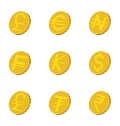 Types of money icons set cartoon style vector image