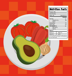 Vegetables group with nutrition facts vector