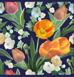 watercolor seamless floral pattern with tulips vector image